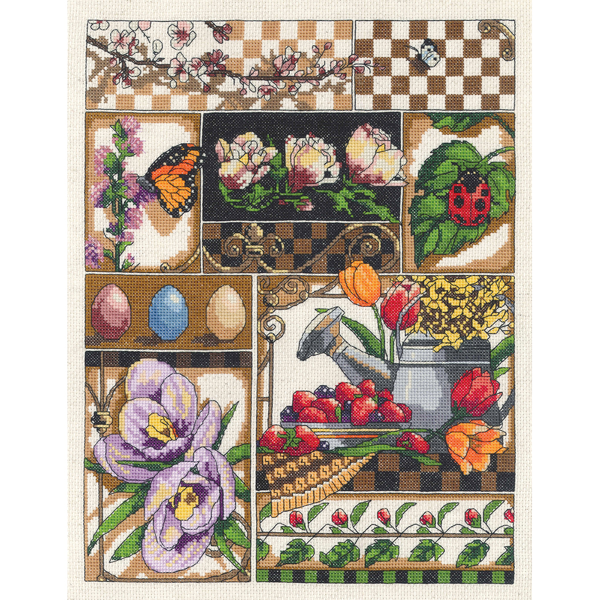 "Janlynn Counted Cross Stitch Kit 11""X14""-Spring Montage (14 Count)"