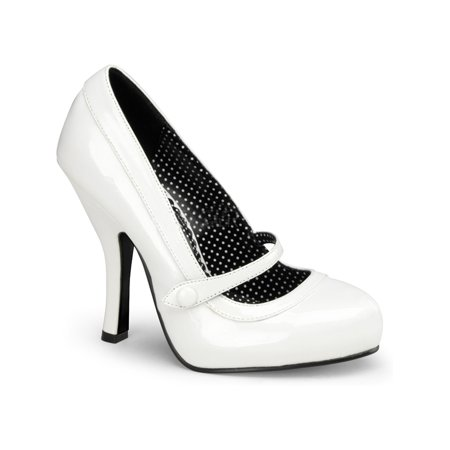 Womens Patent Pumps 4 1/2 Inch Heels Concealed Platform Mary Jane Strap Shoes - Pinup Shoes