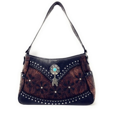 Western Tooled Leather Purse - Western Tooled Leather Laser Cut Concealed Carry Feather Country Shoulder Handbag