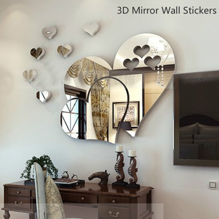 Outgeek 3D Heart Mirror Wall Stickers Creative DIY TV Background Sticker Art Acrylic Sticker for Living Room Bedroom Home Decor (Silver)](Diy Halloween Room Decor)