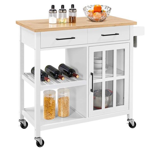 Alden Design Rolling Kitchen Island Cart With Bamboo Top White Walmart Com Walmart Com