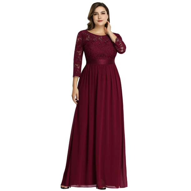 Ever-Pretty Womens Floral Lace Long Sleeve Bridesmaid Dresses for Women 74122 Burgundy US4