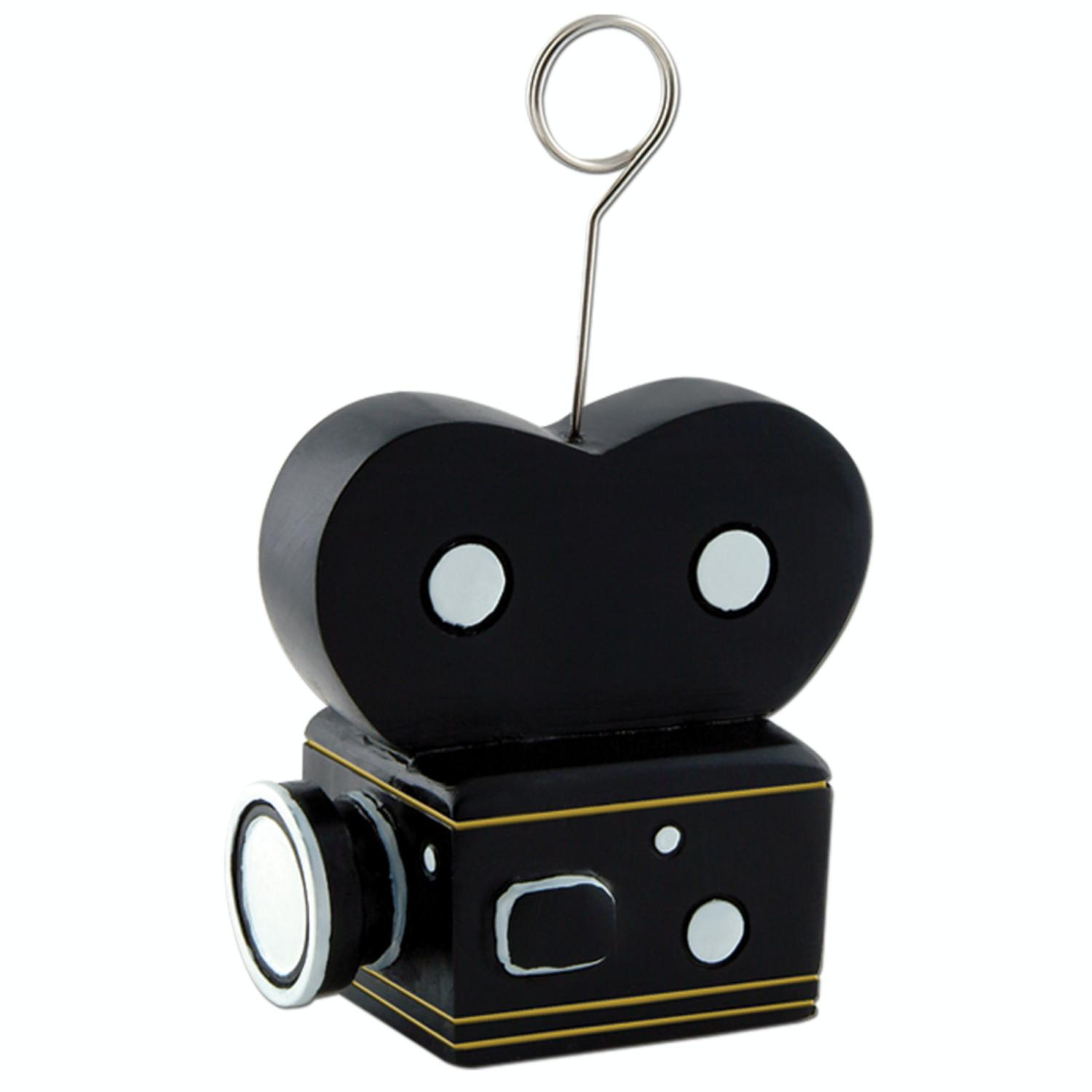 Pack of 6 Black Hollywood Film Camera Photo or Balloon Holder Party Decorations 6 oz.