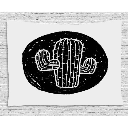 Cactus Tapestry, Sketch Style Doodle with Plant Theme Grungy Monochrome Saguaro from Mexico Flora, Wall Hanging for Bedroom Living Room Dorm Decor, 60W X 40L Inches, Black White, by Ambesonne