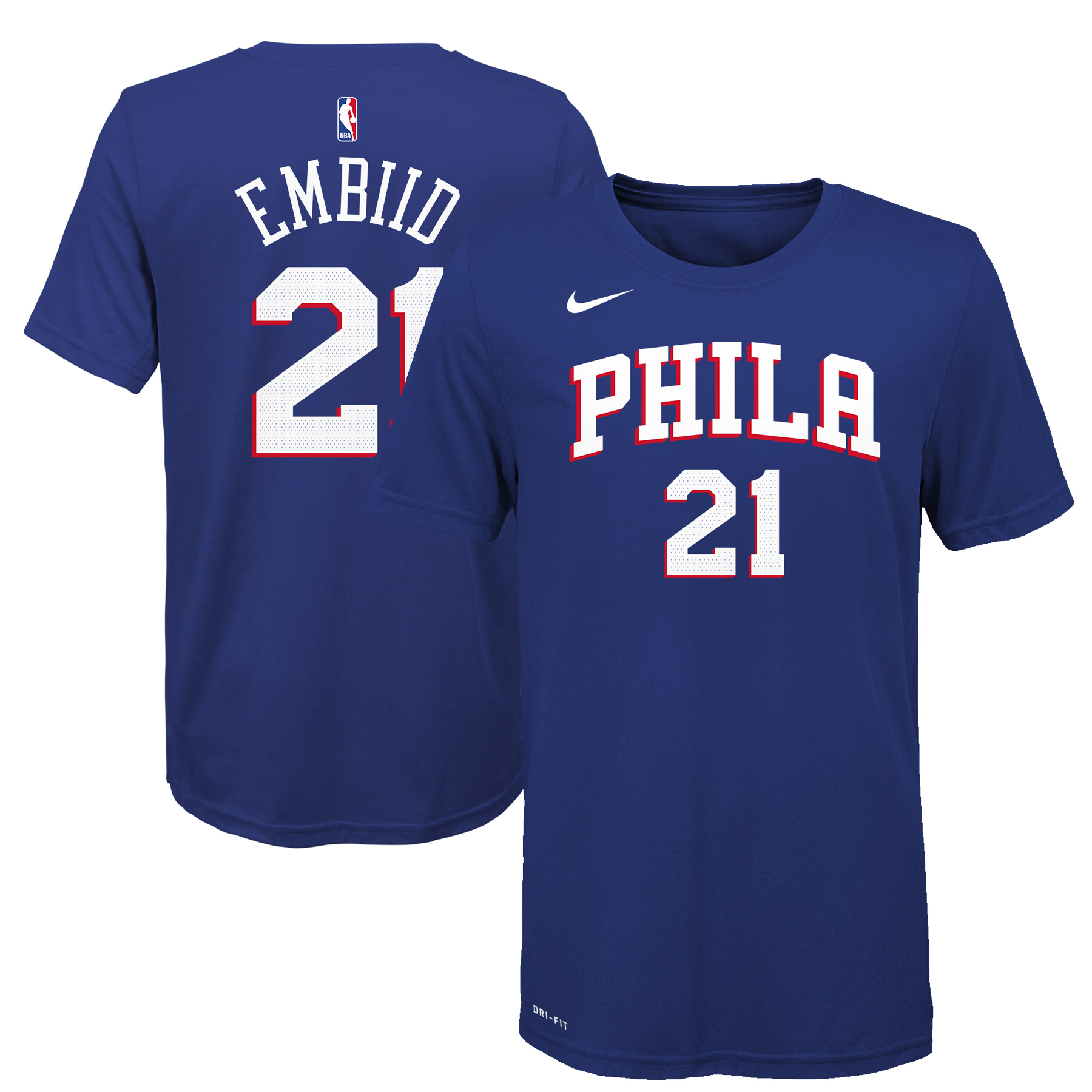 premium selection a79ce b90a5 Joel Embiid Philadelphia 76ers Nike Youth Name & Number T-Shirt - Royal