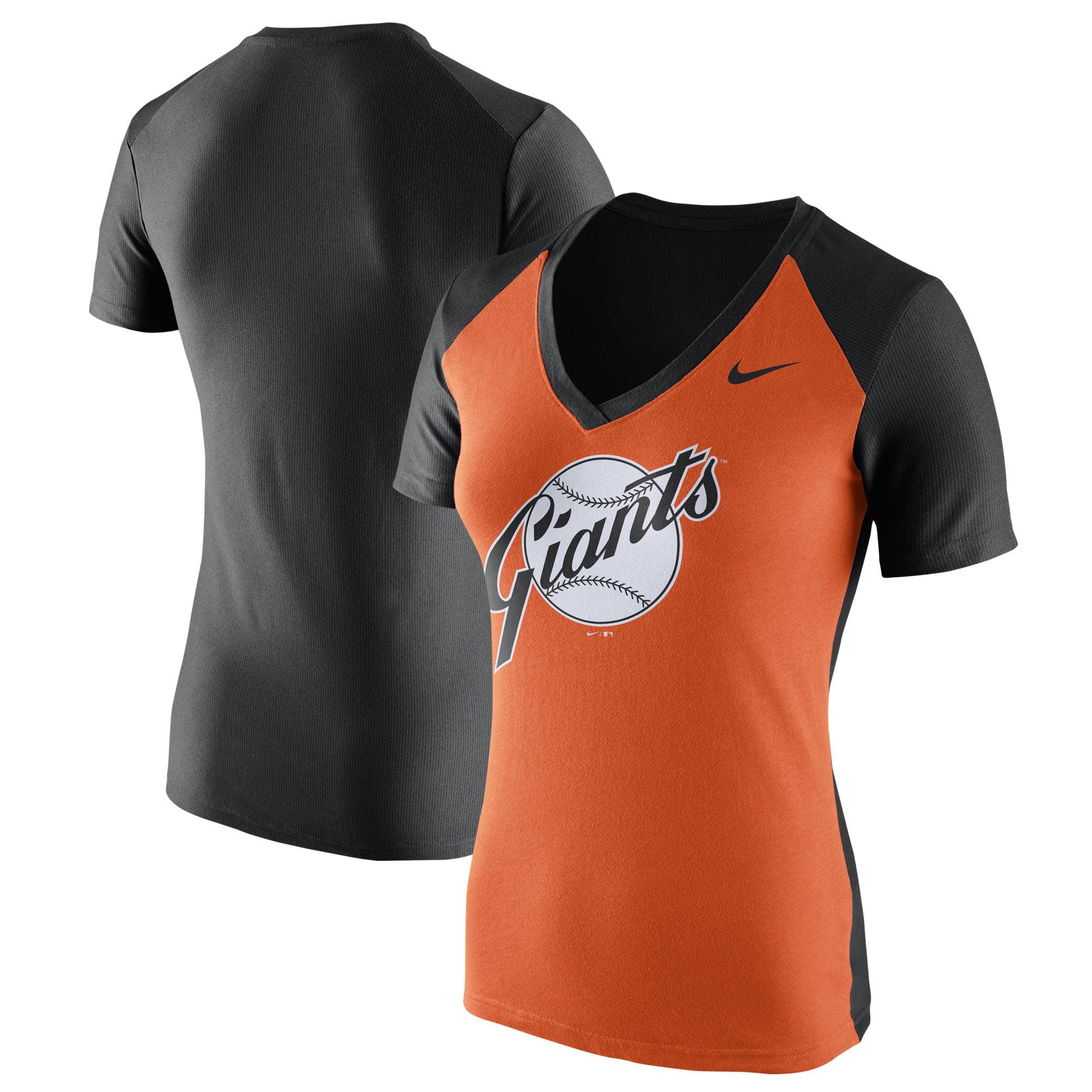 San Francisco Giants Nike Women's Cooperstown Collection Throwback Logo V-Neck T-Shirt - Orange