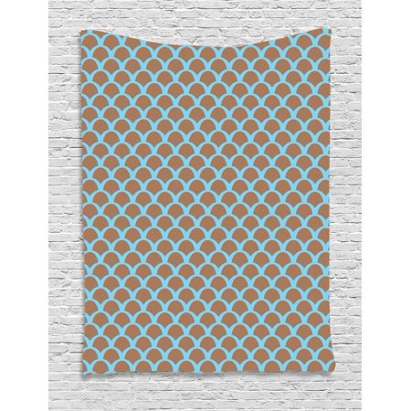 Half Circle Wall (Fish Tapestry, Squama Pattern with Intertwined Half Circles Aquatic Animal and Snake Scale Design, Wall Hanging for Bedroom Living Room Dorm Decor, 40W X 60L Inches, Tan Pale Blue, by Ambesonne )