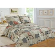 """All for You 3pc Reversible Quilt Set, Bedspread, or Coverlet with Prints-4 different sizes-beige, brown, red, and black ( full/queen 86""""x 86"""" with standard pillow shams)"""