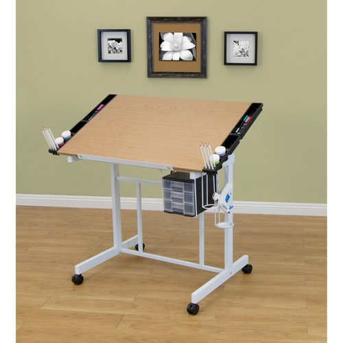 Studio Designs Deluxe Craft Station, White and Maple