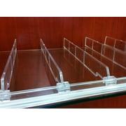 "Universal Shelf Lip & Adjustable Depth Divider Kit, 10 Dividers Included for Each 48"" L Adhesive Front Lip, 1 Lip, 10 1"" H Dividers"