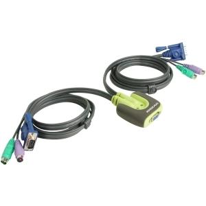 2PORT PS2 MINIVIEW MICRO KVM W/6FT CABLES HOT KEYS
