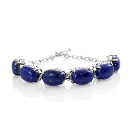 Womens 925 Sterling Silver Platinum Plated Oval Lapis Lazuli Toggle Clasp Bracelet for Women Jewelry 7.25