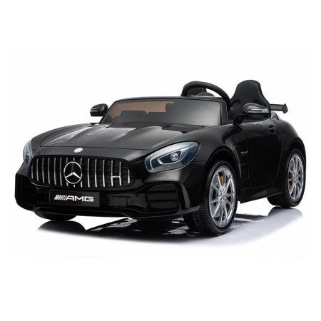 2 Seater 12V powered Mercedes ride on car 4WD for kids Remote Control LED lights Opening doors MP3 - Black