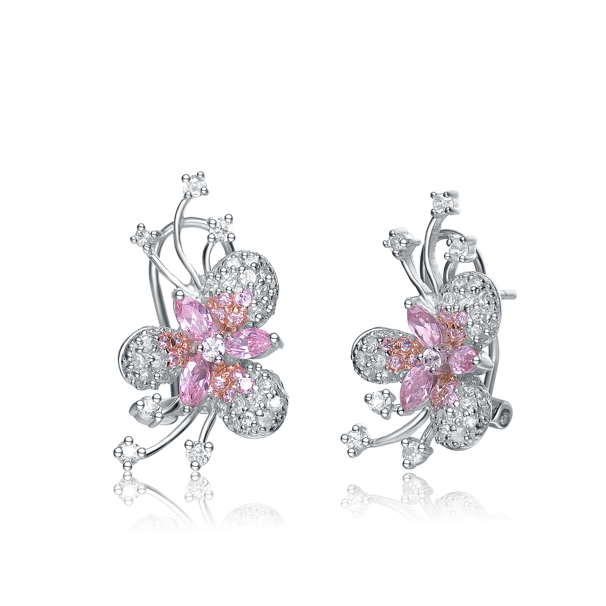 RelavenO C.Z. Sterling Silver Rhodium Plated Pink Marquise Flower Earrings by