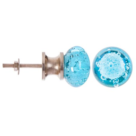 Darice Decorative Glass Knob: Round Sky Blue Bubble Glass Knob