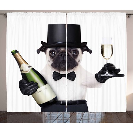 Pug Curtains 2 Panels Set, Celebration Dog with Champagne Bottle while Toasting Happy Moments Photographs, Window Drapes for Living Room Bedroom, 108W X 90L Inches, Black White Emerald, by Ambesonne