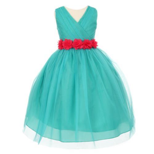 Cinderella Couture Big Girls Jade Red Chiffon Floral Sash Tulle Junior Bridesmaid Dress 8