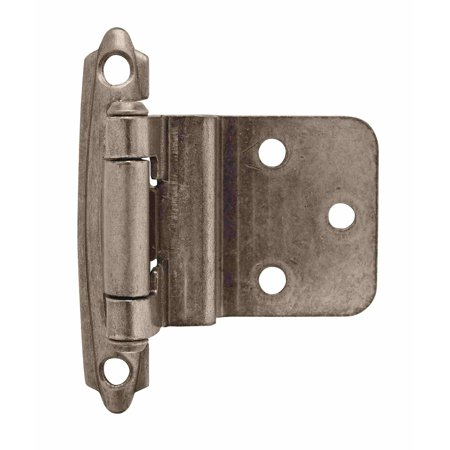 - 3/8in (10 mm) Inset Self-Closing, Face Mount Weathered Nickel Hinge - 2 Pack