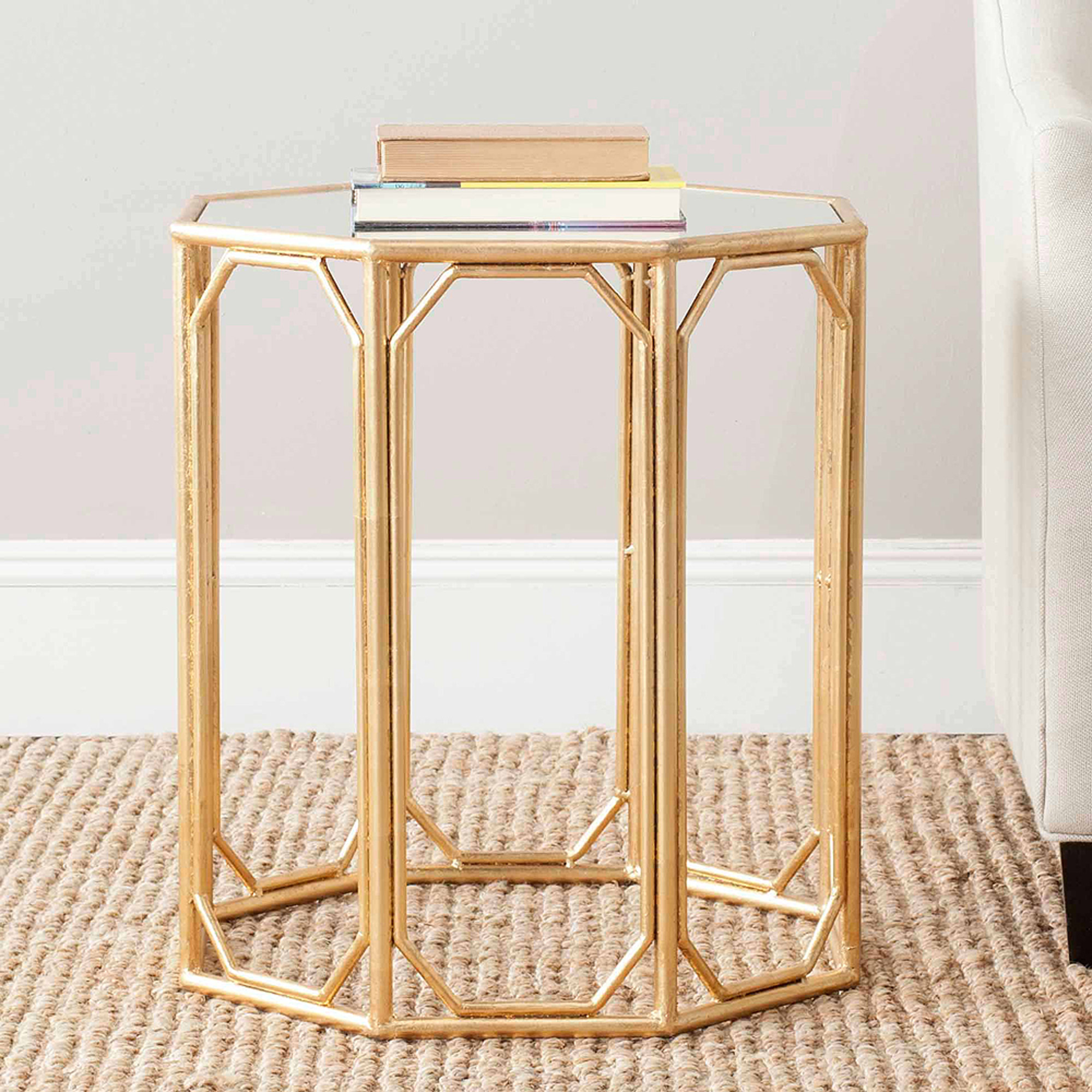 Safavieh Muriel Accent Table, Gold/Mirror Top