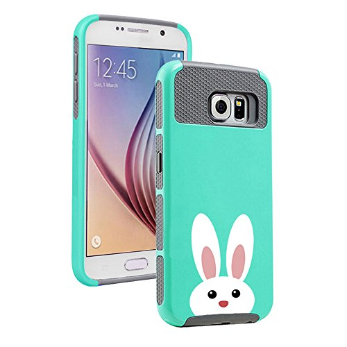 For Samsung Galaxy S6 Shockproof Impact Hard Soft Case Cover Peeking Bunny Rabbit (Teal-Gray)