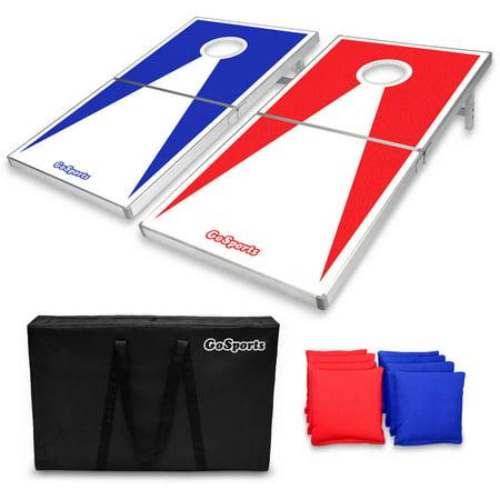 Gosports Pro Regulation Size Bean Bag Toss Set Superior Aluminum Frame Red And Blue Design