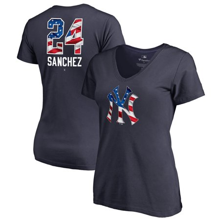 Gary Sanchez New York Yankees Fanatics Branded Women's 2019 Stars & Stripes Banner Wave Name & Number V-Neck T-Shirt