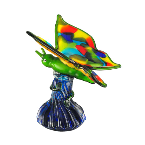 "Dale Tiffany AS12374 Butterfly 8"" Tall Hand Blown Glass Decorative Figurine"