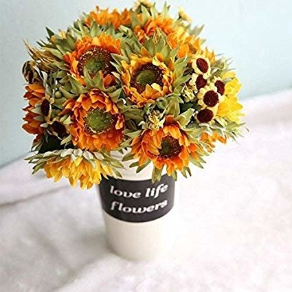 1 Piece 5 Heads Artificial Flowers Imitation Silk Sunflowers Decorative Art Flowers Living Room Dining Table Potted Ornament
