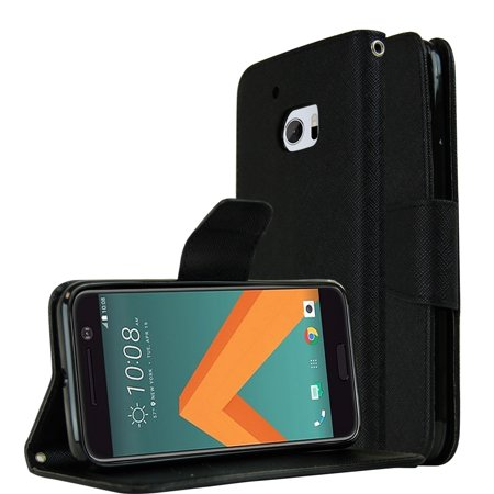 HTC 10 Wallet Case, REDshield [Black] Faux Saffiano Leather Front Flip Cover with Built-in Card Slots, Magnetic Flap Card Black Faux Leather