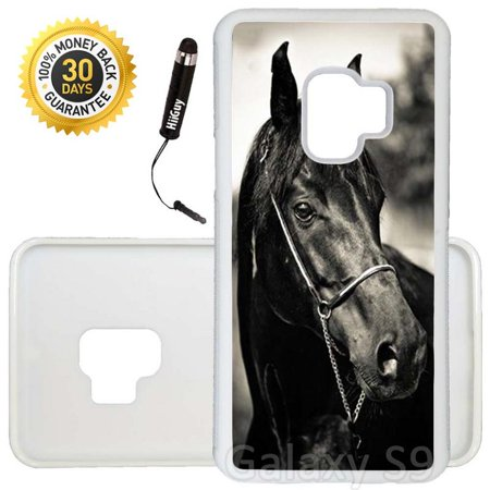 Custom Galaxy S9 Case (Horse Racing) Edge-to-Edge Rubber White Cover Ultra Slim | Lightweight | Includes Stylus Pen by Innosub Horse Racing Cover