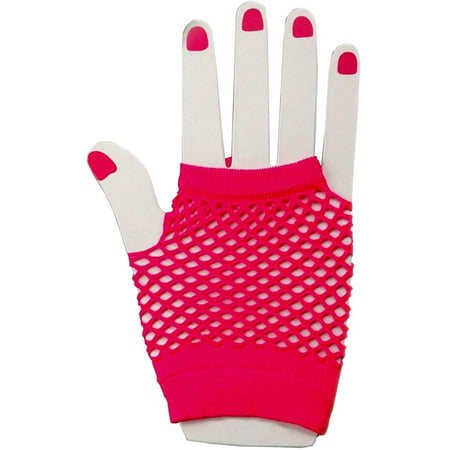 Adults  Neon Pink Fishnet Fingerless 80s Rock Costume Half Gloves - Accessories From The 80s