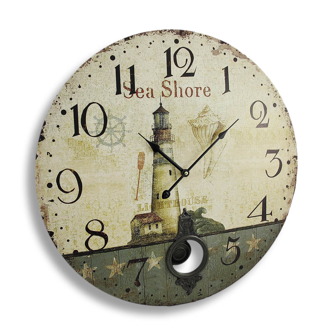 Antique Finish Seashore Lighthouse Wall Clock With