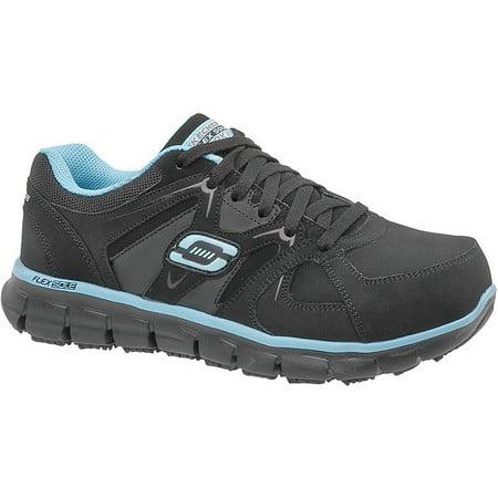 Skechers Size 7 Alloy Toe Work Shoes, Women's, Black, D, 76553 - BKBL SZ 7