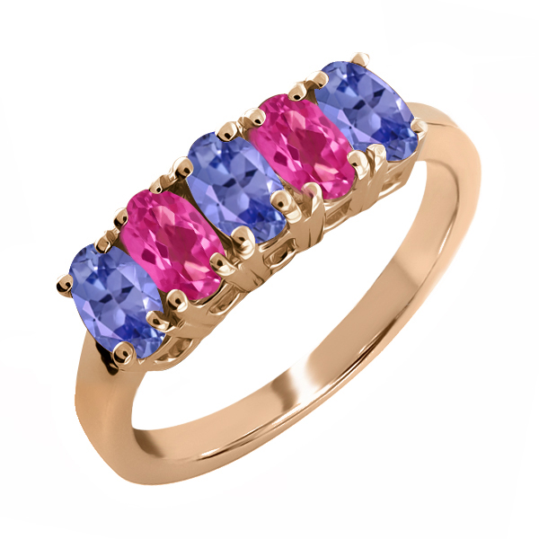 2.45 Ct Oval Blue Tanzanite and Pink Mystic Topaz 18k Rose Gold Ring by