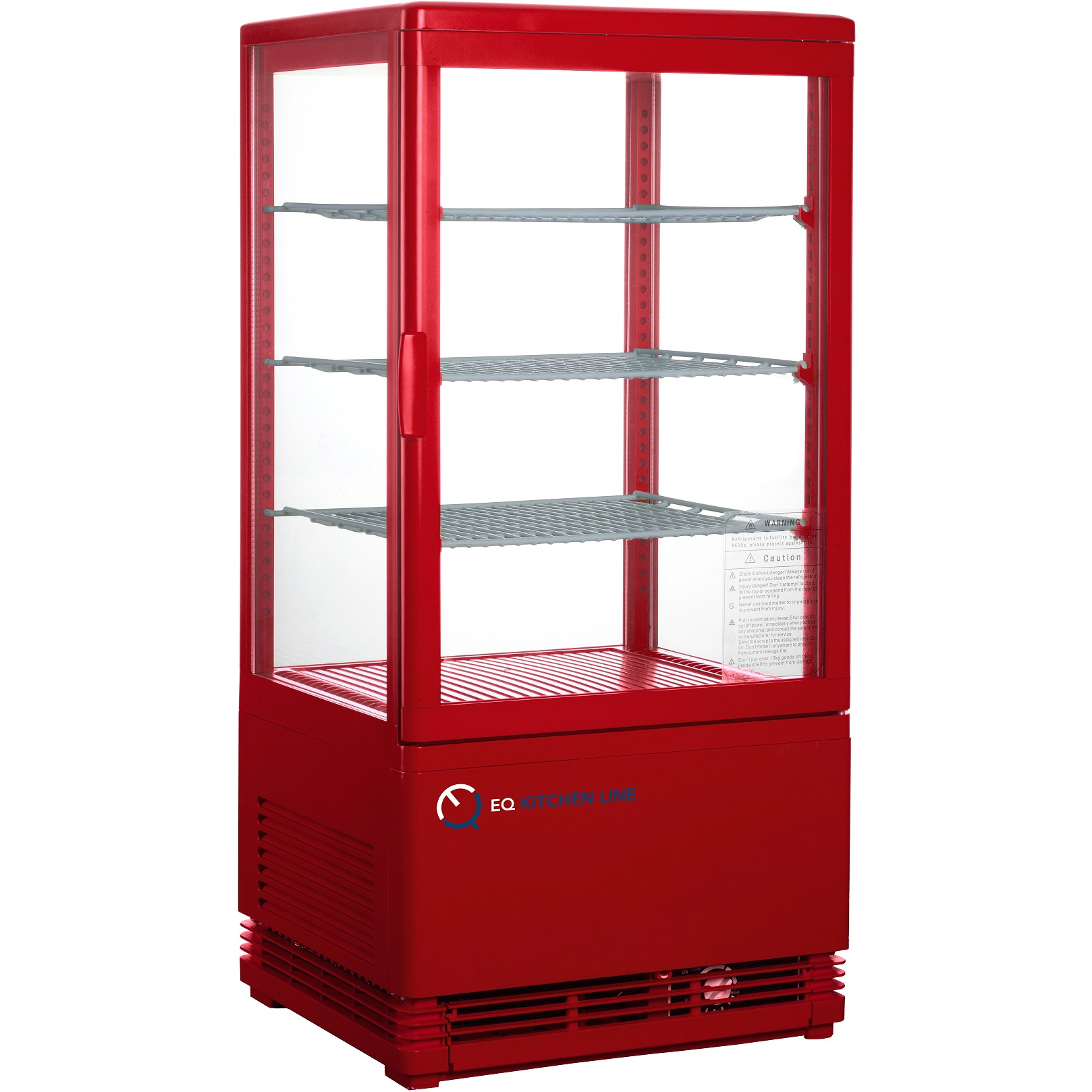 Superieur EQ Kitchen Line RT 68L Commercial Refrigerated Glass Beverage Display Case,  Red