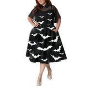Plus Size Vintage Swing Dresses for Women Retro 1950s 60s Rockabilly Evening Cocktail Party Pinup Straps Bat Print Homecoming Dress + Cloak