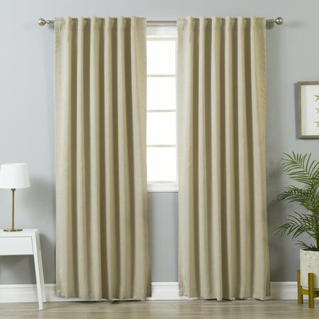 - Quality Home Linen Print Room Darkening Curtains - Beige - 52