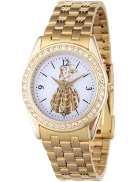 Princess Belle Womens' Gold Alloy Glitz Watch, Gold Stainless Steel Bracelet