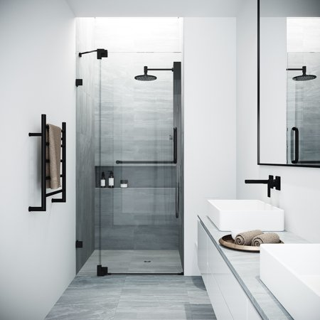 VIGO Pirouette 36 to 42 in. x 72 in. Frameless Pivot Shower Door in Matte Black with Clear Glass and Handle