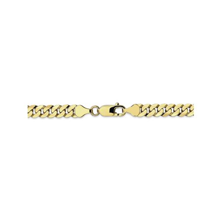 9 Inch Curb Chain Bracelet - 6.1 mm 10k Yellow Gold Flat Beveled Curb Chain Ankle Bracelet - 9 Inch