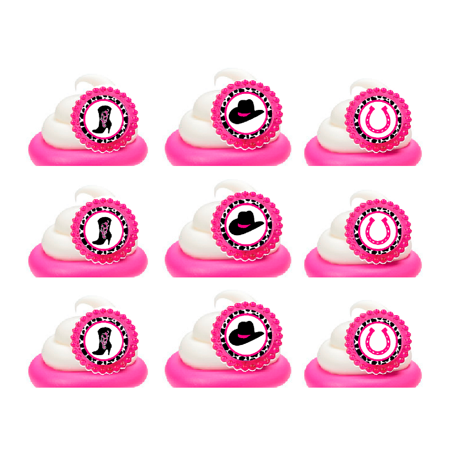Western CowGirl Easy Toppers Cupcake Decoration Rings -12pk](Easy Halloween Decorations For Cupcakes)