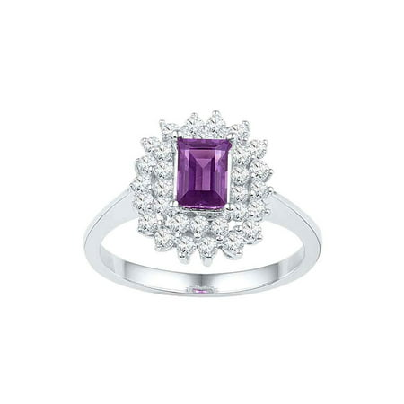 10kt White Gold Womens Emerald Amethyst Solitaire Diamond Accent Ring 1-1/3 Cttw