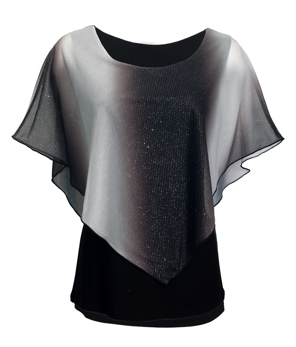 eVogues Plus Size Layered Poncho Top with Glitter Detail Gray