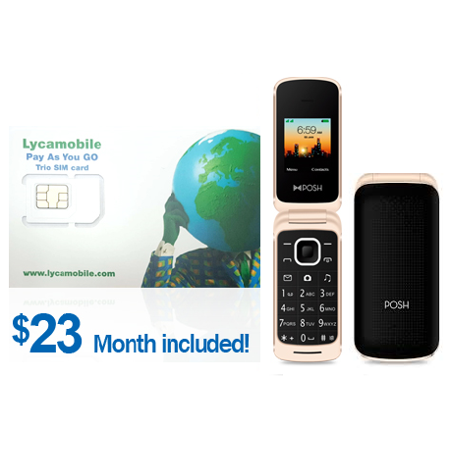 LycaMobile Factory $23 1st month Preloaded SIM Card(3in1) with Posh A110  flip phone ( BLACK / GOLD )