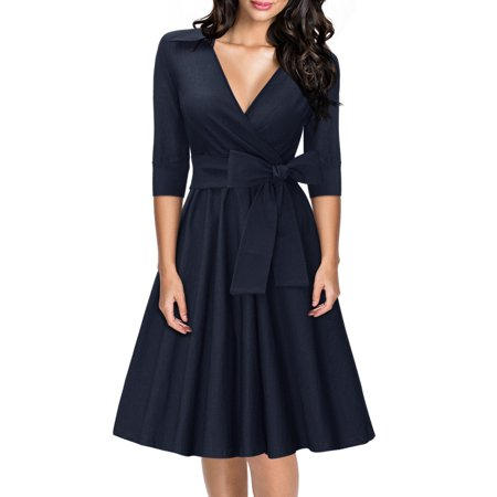 MIUSOL Women's Deep-V Neck Half Sleeve Bow Belt Vintage Classical Casual Swing Dresses for Women (Navy Blue 3XL)