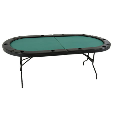 Triumph Folding Poker Table with Padded Felt Playing Surface, Casino-Style Padded Arm Rests, and 10 Drink Holders ()