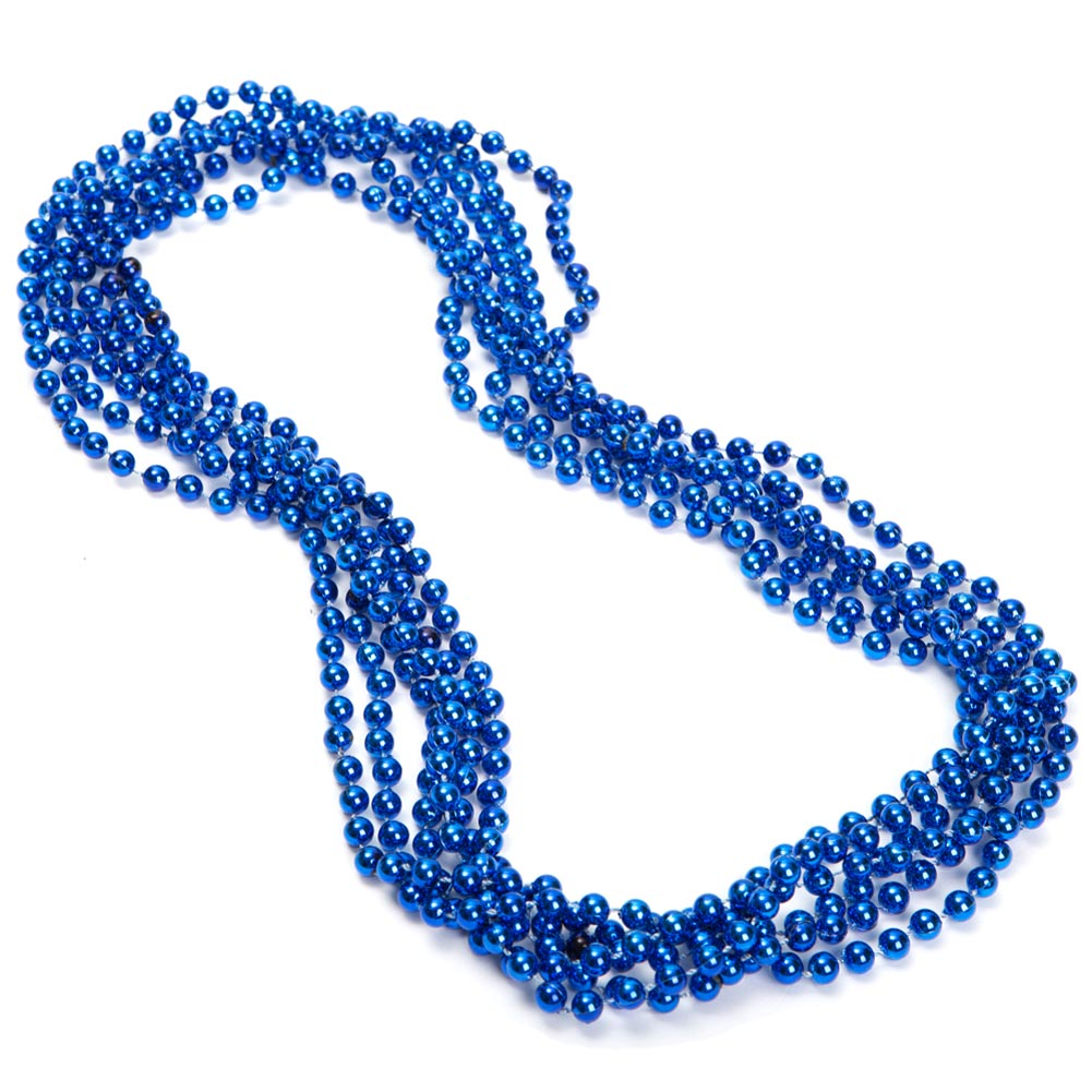 "33"" 7 mm Blue Mardi Gras Beads"