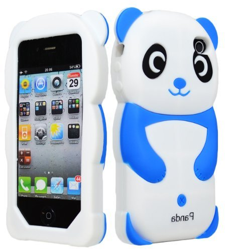 iPhone 4 Phone Case, Bastex 3D Silicone Dark Blue & White Panda Bear Case for Apple iPhone 4, 4s …