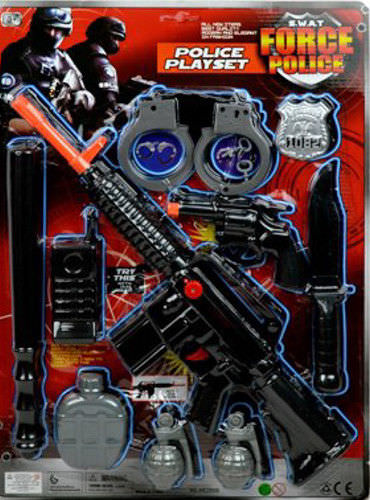 Police 10 Piece Play Set Pretend Patrol SWAT Team Kids Toy Officer Costume by