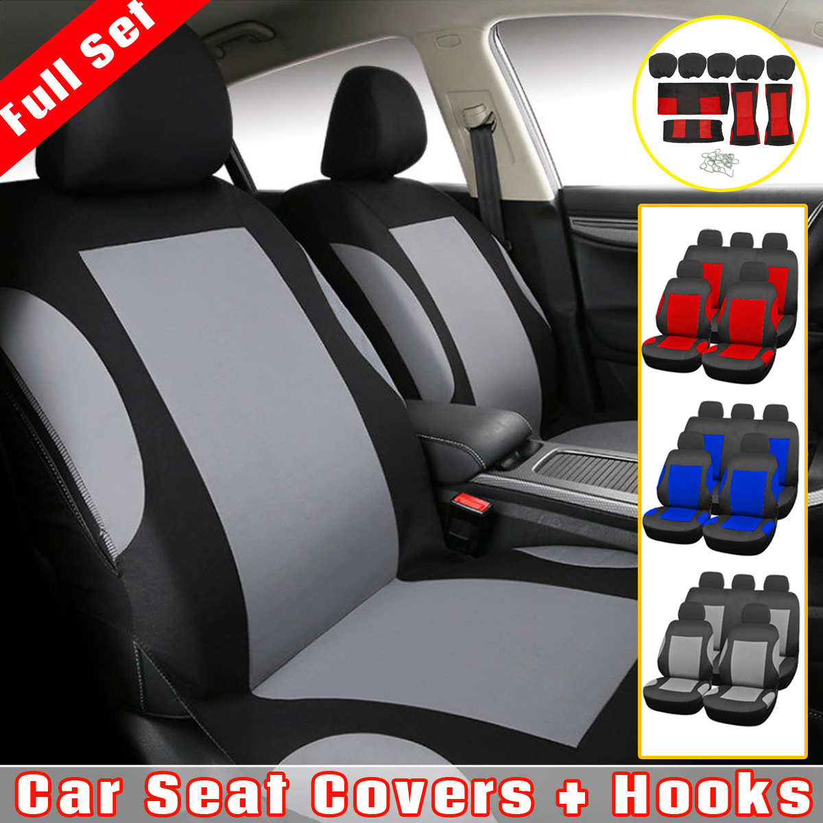 9Pcs/set Universal Car Seat Cover + Hooks Full Set For Auto Front + Rear Seat Headrests